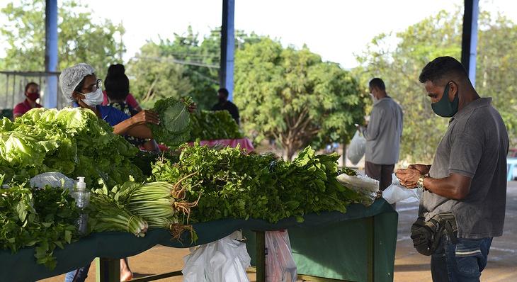 As equipes de servidores municipais além de passar as orientações ao público, fazem o controle do tempo de permanência durante as compras para evitar aglomeração (Foto: Lia Mara)