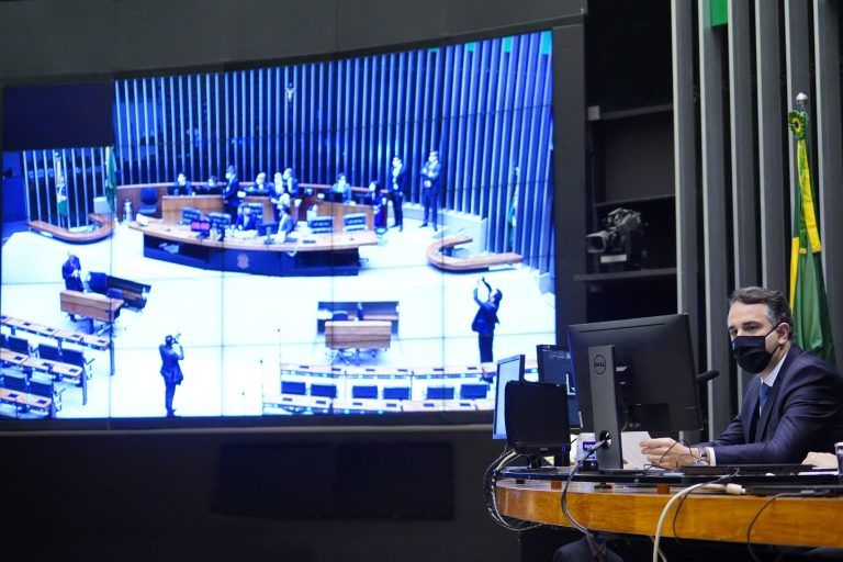 Rodrigo Pacheco encerrou a sessão do Congresso sem votações - (Foto: Pablo Valadares/Câmara dos Deputados)