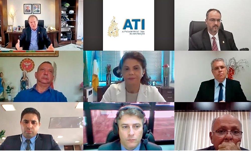 Durante a videoconferência, o Governador propôs a criação de um Comitê formado entre os Poderes e Instituições para que o Projeto de Reforma de Previdência Estadual seja debatido (Foto: Secom/TO)
